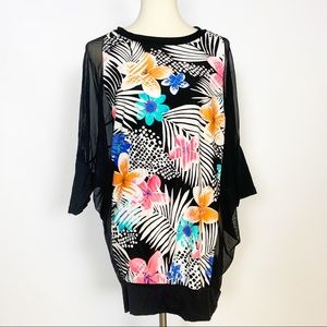 Coco Reef | Black Tropical Mesh Sleeve Cover Up